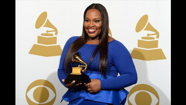 Tasha Cobbs with her Grammy